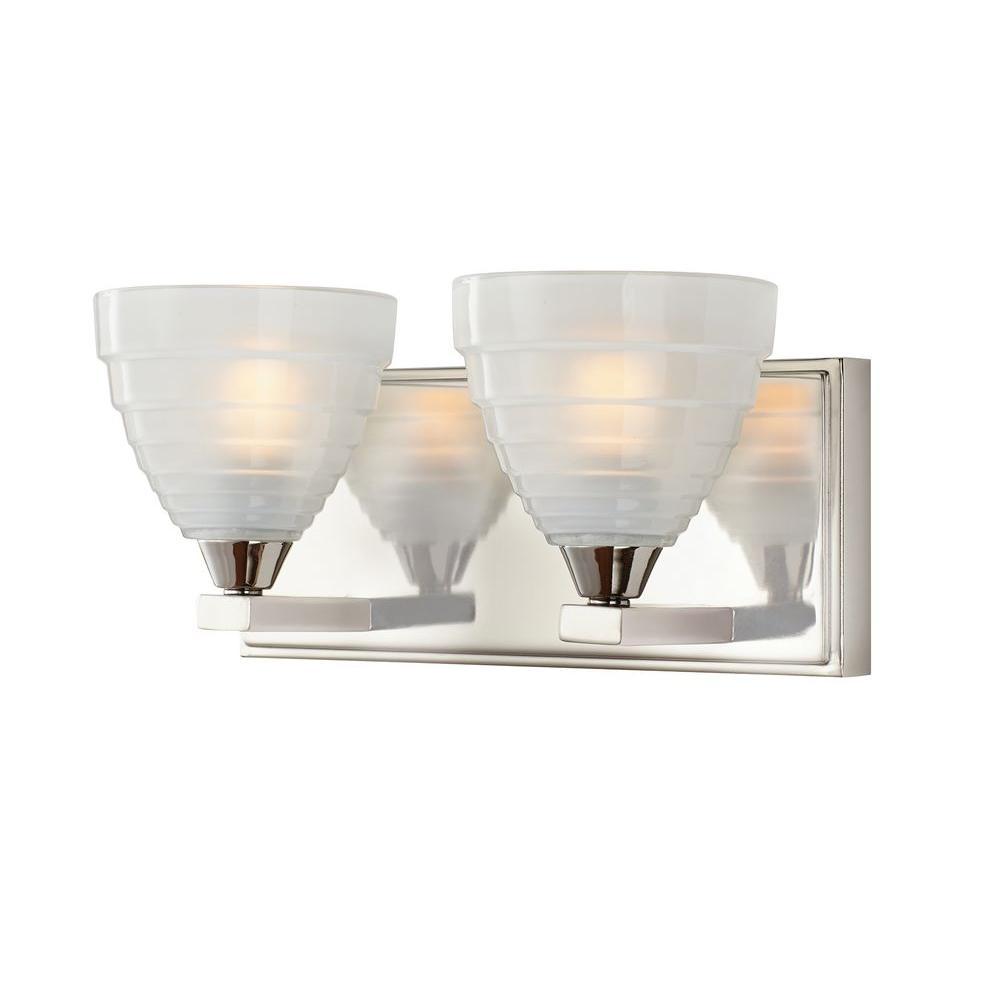 Home Decorators Collection Bovoni 2-Light Polished Nickel Wall Vanity Light