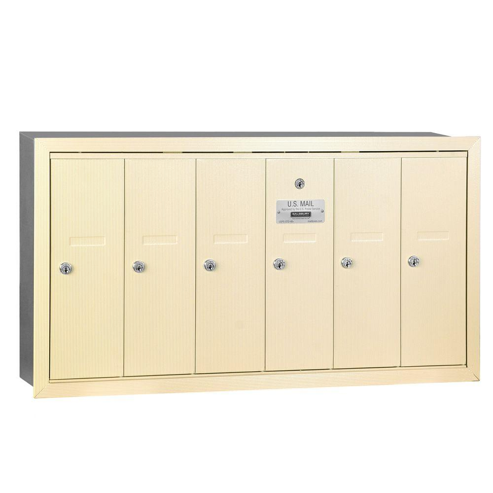 Sandstone Recessed-Mounted USPS Access Vertical Mailbox with 6 Doors