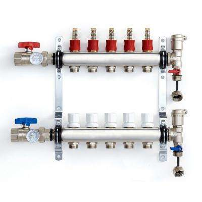 1 in. NPT Inlet x 1/2 in.  Stainless Steel Compression Connection 5-Outlet Radiant Heating Manifold