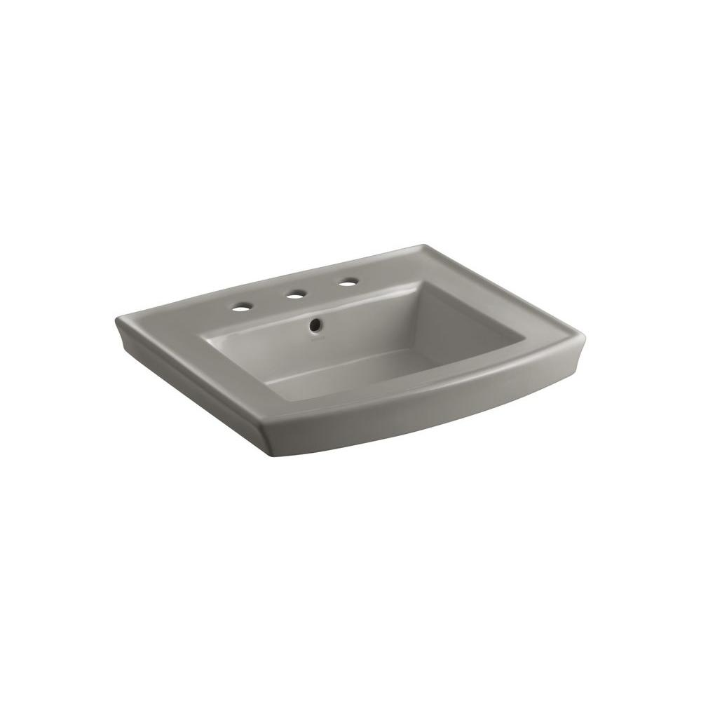 Archer 8 in. Vitreous China Pedestal Sink Basin in Cashmere with