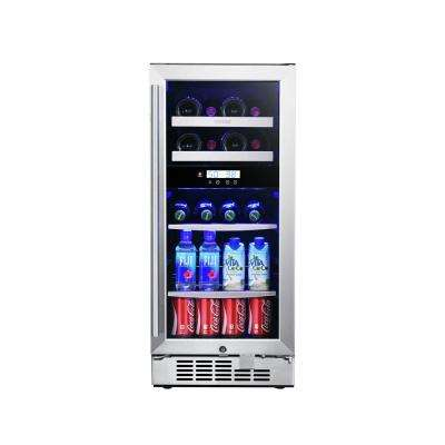15 in. 8-Bottle and 44-Can Stainless Steel Dual Zone Built-In Wine and Beverage Cooler
