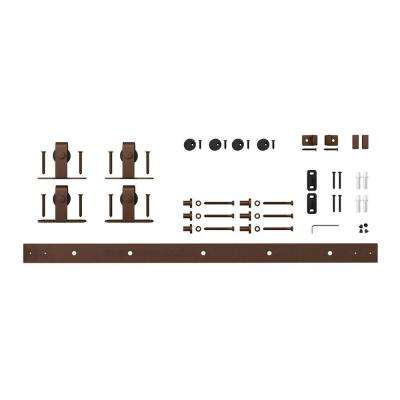 4 ft. Oil Rubbed Bronze Solid Steel Mini Sliding Rolling Barn Door Hardware Kit for Double Furniture Wood Doors
