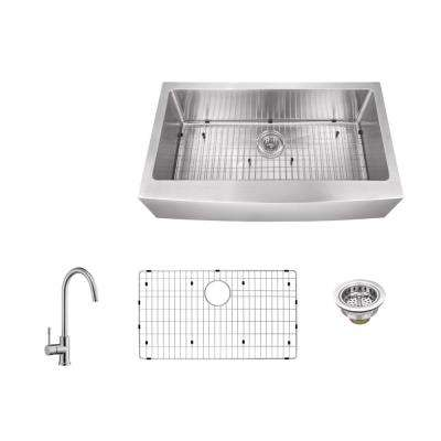 Apron Front 33 in. 16-Gauge Stainless Steel Single Bowl Kitchen Sink in Brushed Stainless with Gooseneck Kitchen Faucet