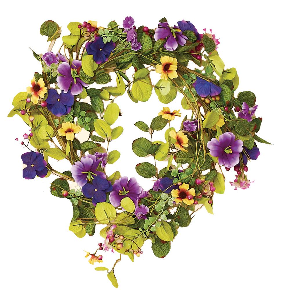 Worth Imports 22 in. Purple Mixed Wreath with Pansy