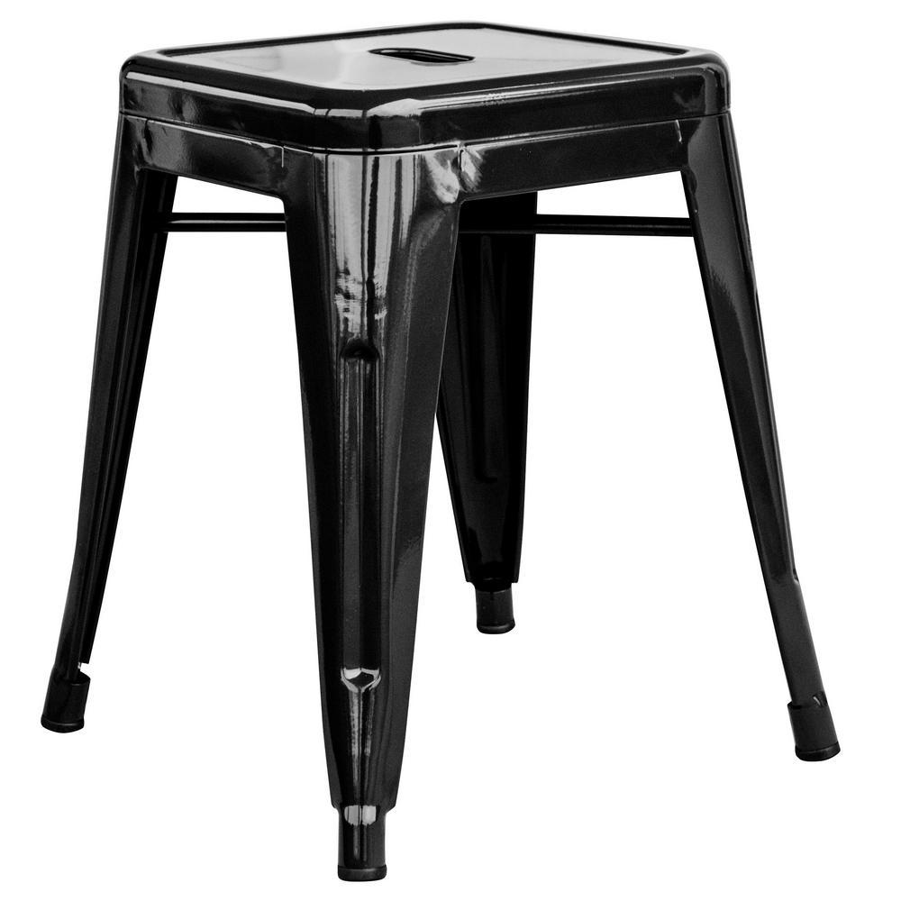 Loft Style 18 in. Black Stackable Metal Bar Stool