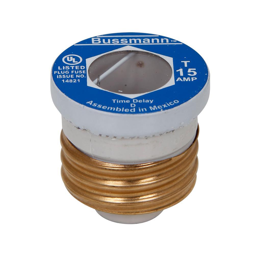 Cooper Bussmann 15 Amp T Style Plug Fuse (4-Pack)