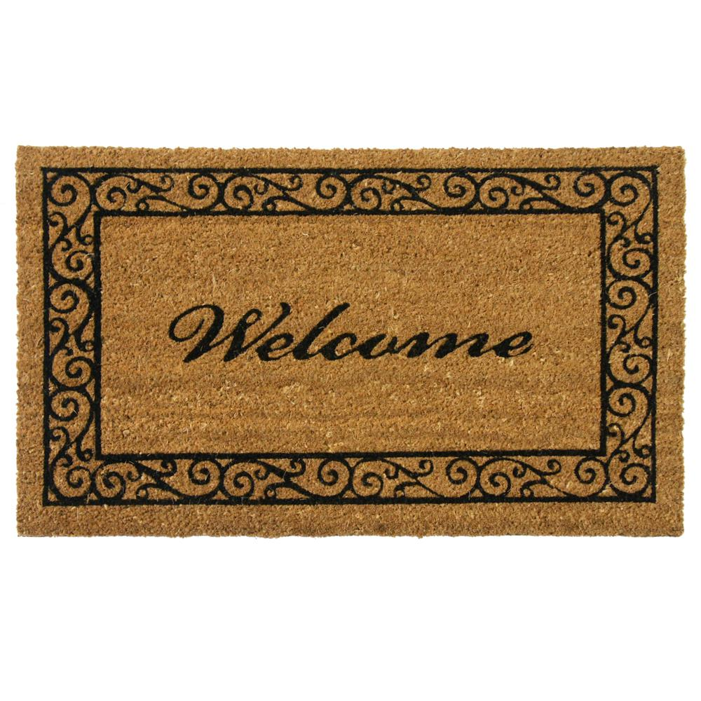 Rubber-Cal Estate Style 24 In. X 57 In. Coco Coir Welcome