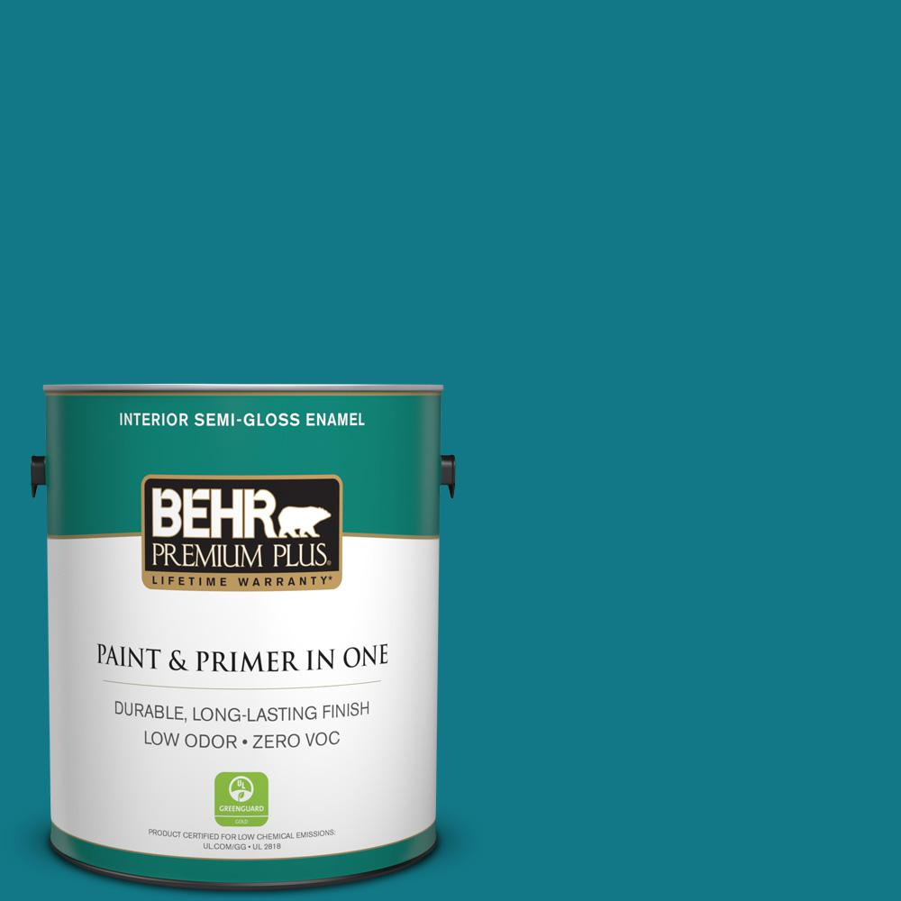 BEHR Premium Plus 1-gal. #S-G-510 Beach Towel Zero VOC Semi-Gloss Enamel Interior Paint