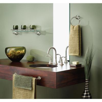 Icon 5-29/50 in. L x 3-41/100 in. H x 20-1/4 in. W Wall-Mount Clear Glass Shelf with Towel Bar in Brushed Nickel