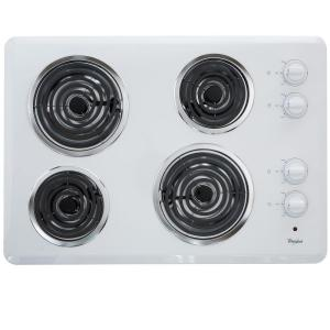 coil electric cooktop in white with 4 elements - Electric Cooktop