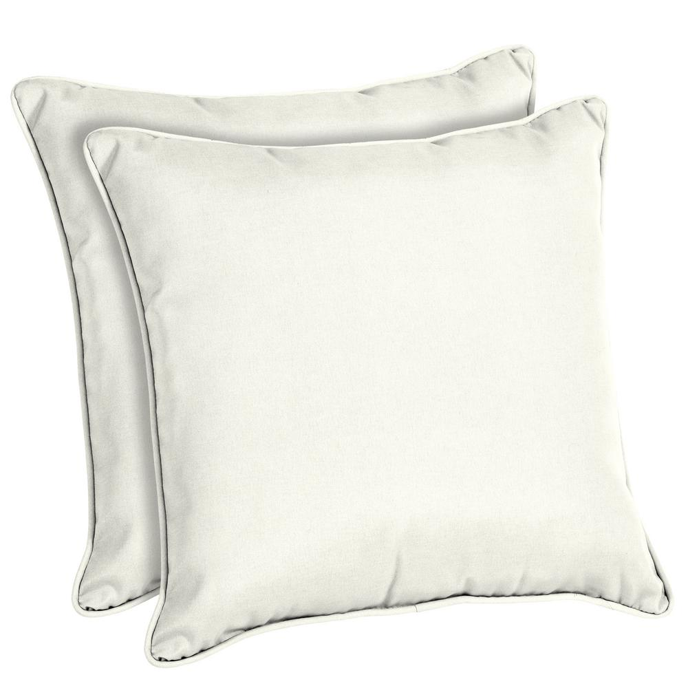 Home Decorators Collection Sunbrella Canvas White Square Outdoor Throw Pillow 2 Pack