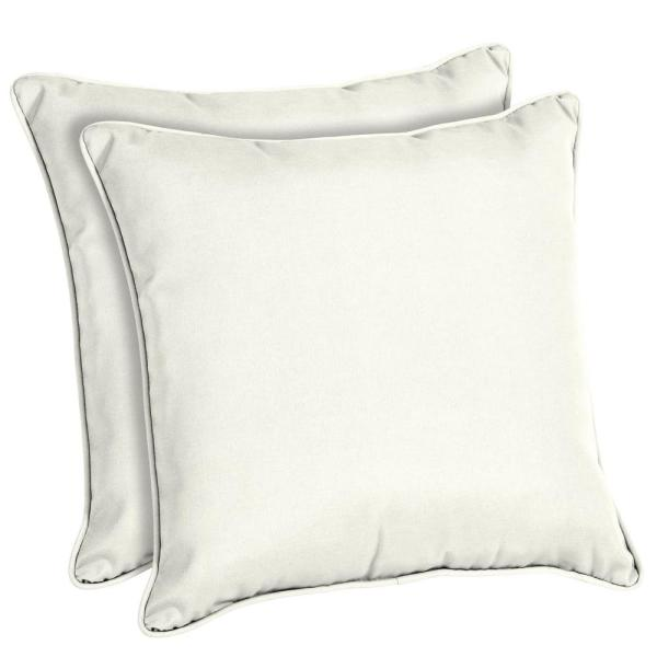 Sunbrella Canvas White Square Outdoor Throw Pillow (2-Pack)
