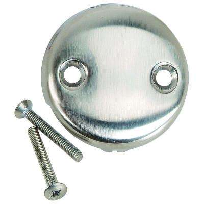 Overflow Face Plate with Screws, Two Hole with Screws in Satin Nickel