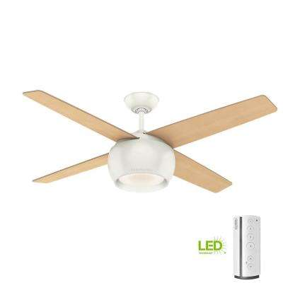 Valby 54 in. LED Indoor Fresh White Ceiling Fan with Light and Remote