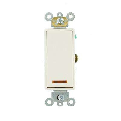 20 Amp Decora Plus Commercial Grade Single Pole Lighted Rocker Switch with Pilot Light, White