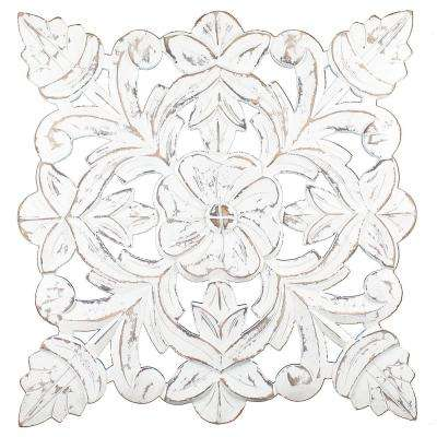 Toan White Carved Wood Medallion Wall Art