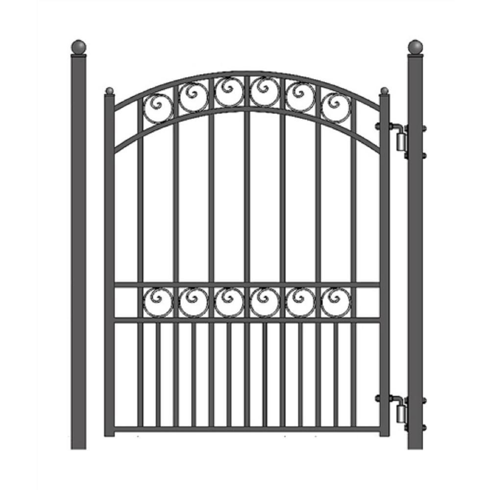 Paris Style 4 ft. x 5 ft. Black Steel Pedestrian Fence Gate