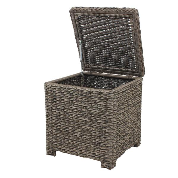 Hampton Bay Laguna Point Square Wicker Outdoor Patio Accent Table With Captured Glass Top 65 51786 The Home Depot