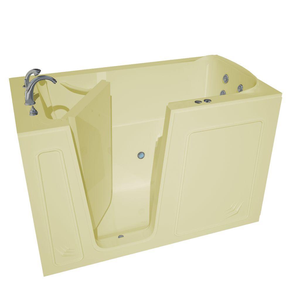 5 ft. Left Drain Walk-In Whirlpool Bathtub in Biscuit