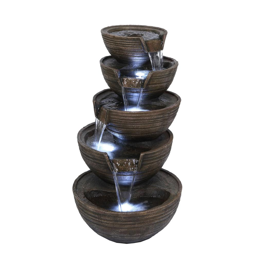 c7e311e9f3d Tall 5 Bowl Tiered Waterfall Fountain with LED