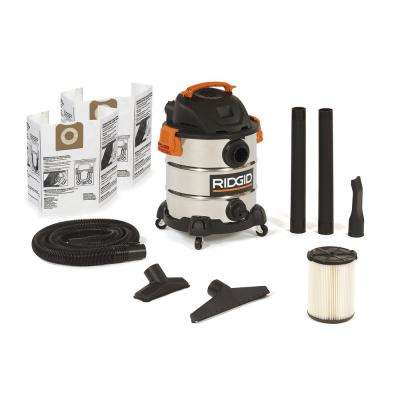 10 Gal. 6.0-Peak HP Stainless Steel Wet/Dry Shop Vacuum with Filter, Dust Bags, Hose and Accessories