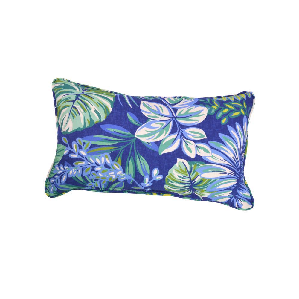 Hampton Bay Seaglass Tropical Outdoor Lumbar Pillow