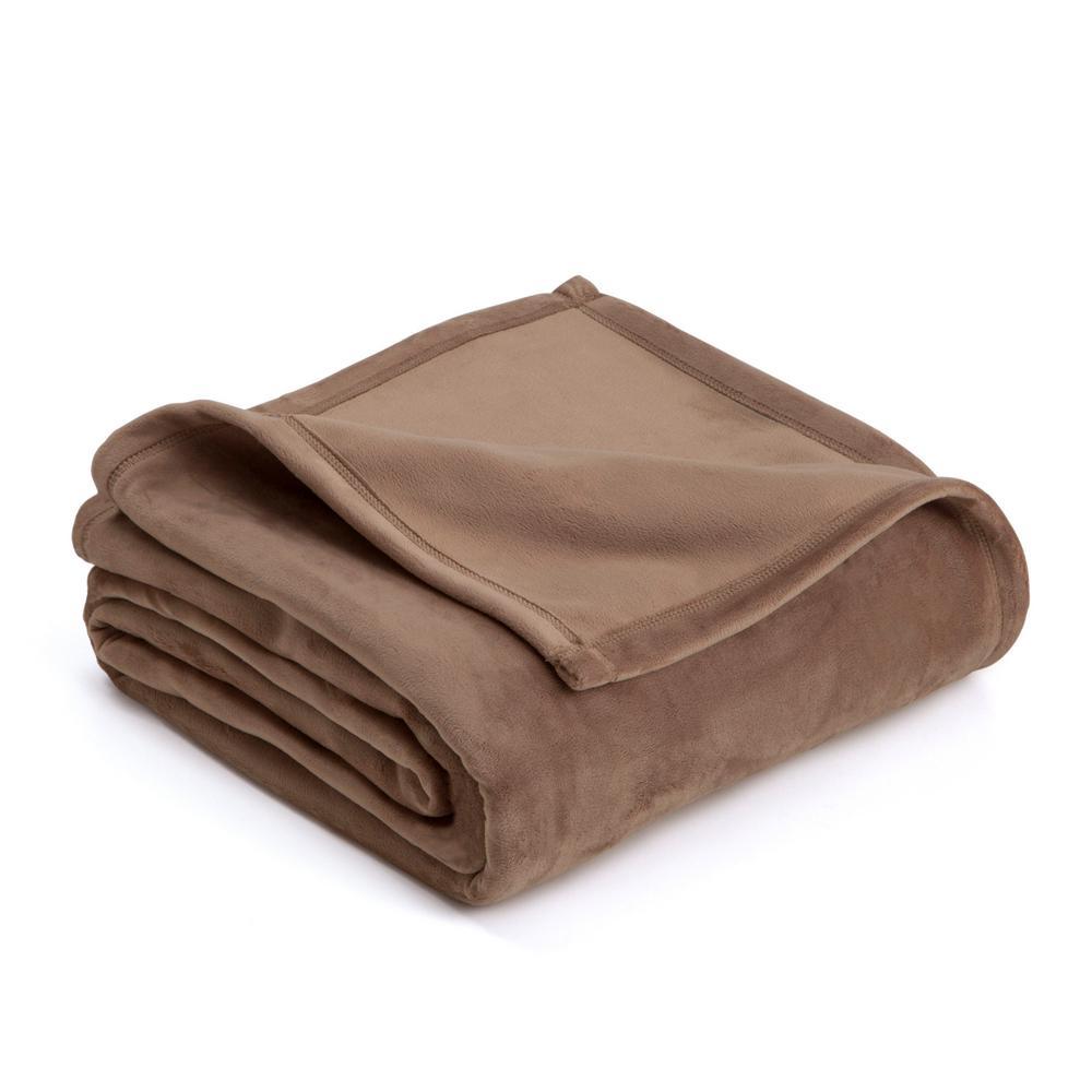 Plush Desert Taupe Polyester Twin Blanket