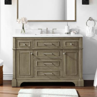 Melpark 48 in. W x 22 in. D Bath Vanity in Antique Oak with Cultured Marble Vanity Top in White with White Basin