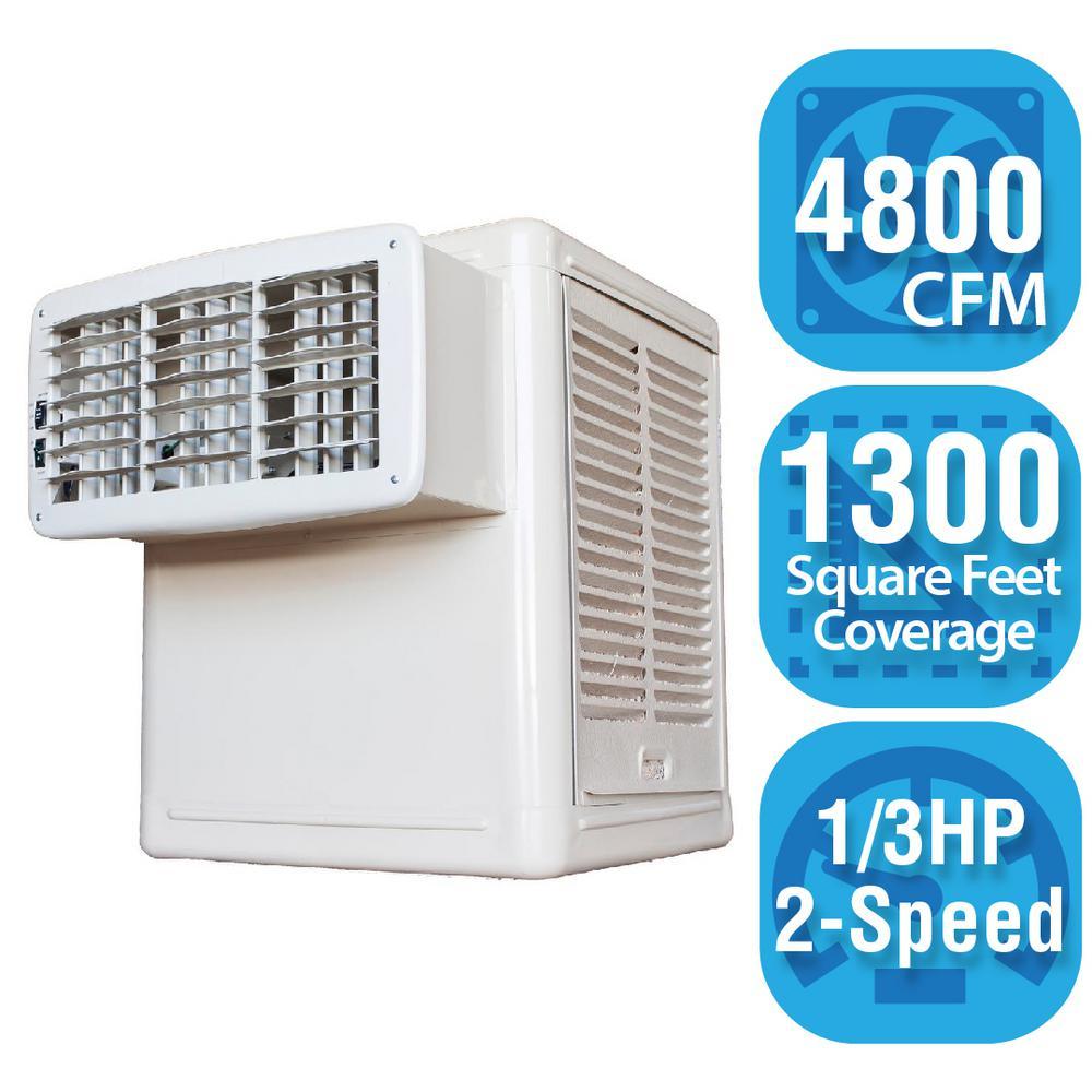 4,800 CFM 2-Speed Window Evaporative Cooler (Swamp Cooler) for 1,300 sq. ft.