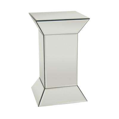 19.5 in. Glass Mirrored Accent Table Finished in Transparent