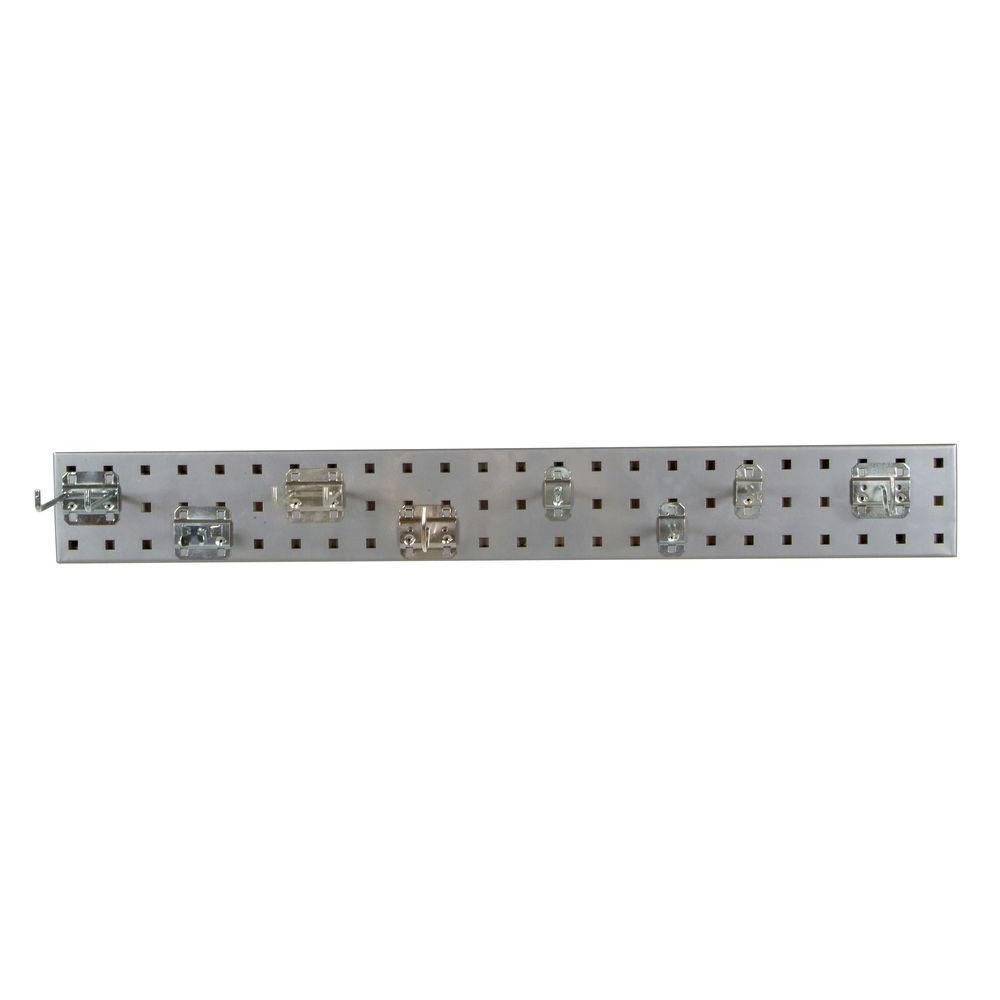 LocBoard 3/8 in. Silver Pegboard Wall Organizer Strip with 8-Piece Assortment