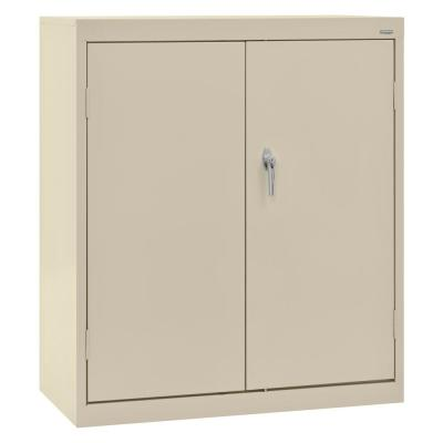 Classic Series 42 in. H x 36 in. W x 18 in. D Steel Counter Height Storage Cabinet with Adjustable Shelves in Putty