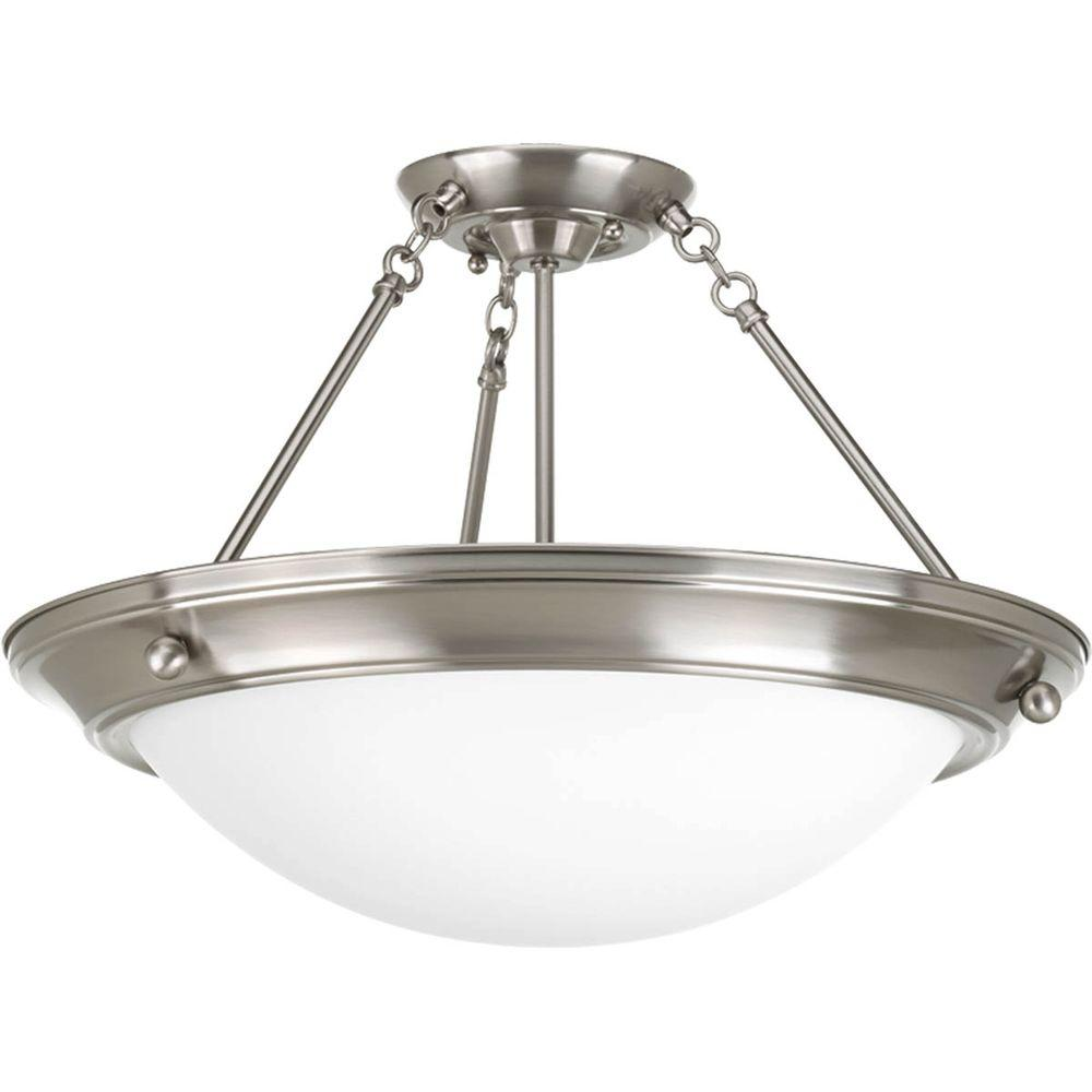 Progress Lighting Eclipse Collection 3-Light Brushed Nickel Semi-flushmount
