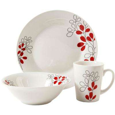 Scarlet Leaves 12-Piece White Floral Dinnerware Set