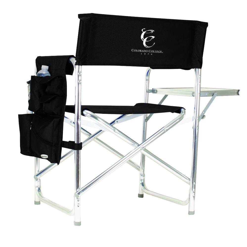 Picnic Time Colorado College Black Sports Chair with Embroidered Logo