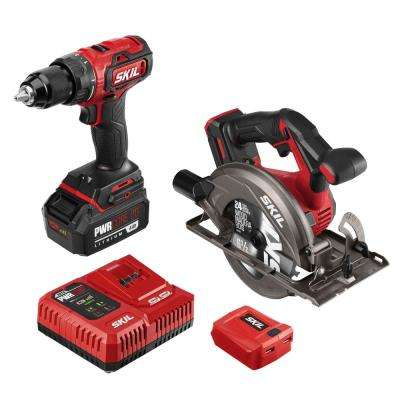 PWRCore Brushless 20V Cordless Drill Driver & Circular Saw Kit w/4.0Ah Lith-ion Batt, PWRAsst USB Adapter and Charger