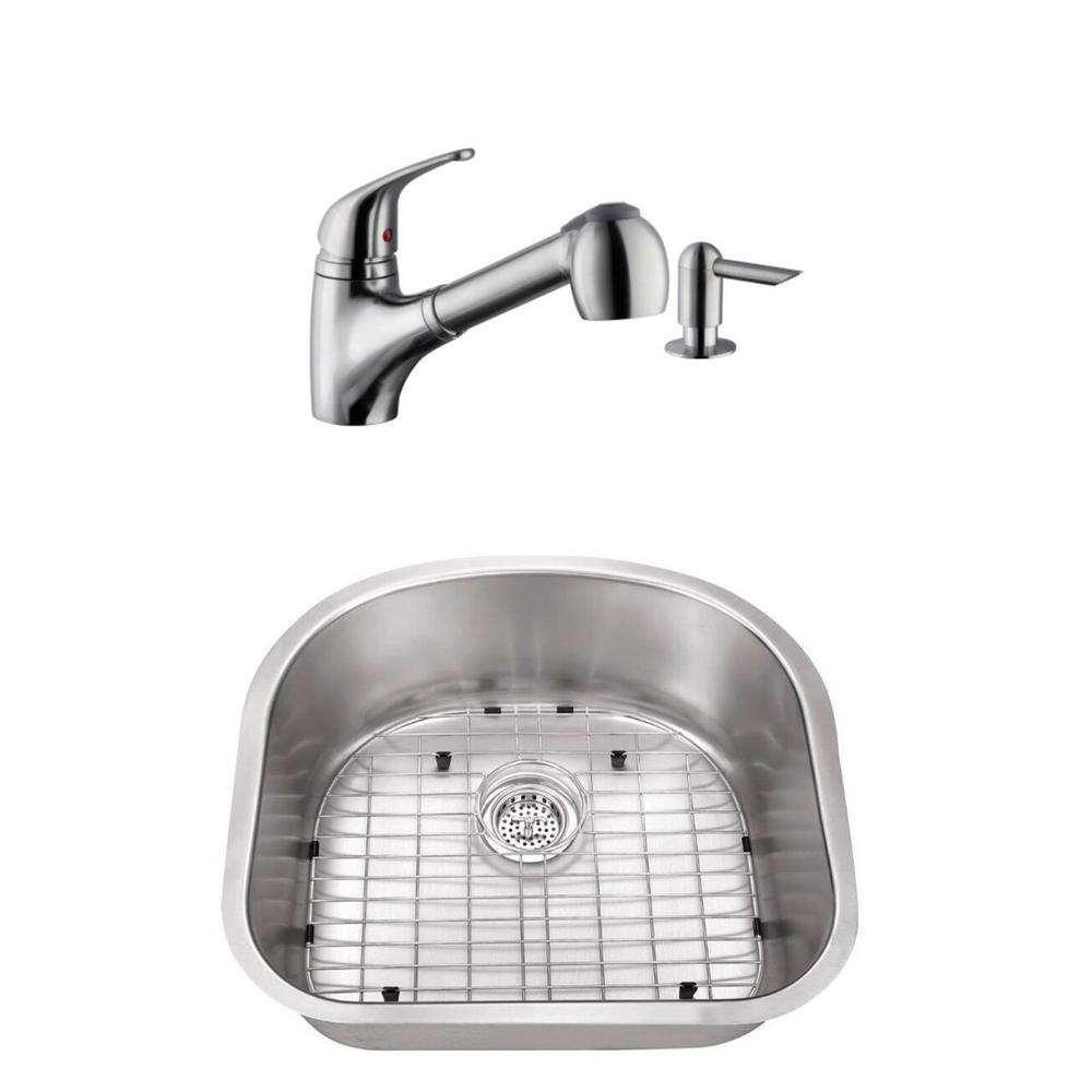 Undermount Stainless Steel 23-1/4 in. D-Shape Single Bowl Utility Sink with