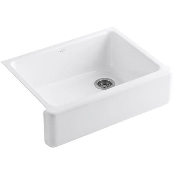 Whitehaven Farmhouse Undermount Apron Front Cast Iron 30 in. Self-Trimming Single Bowl Kitchen Sink in White
