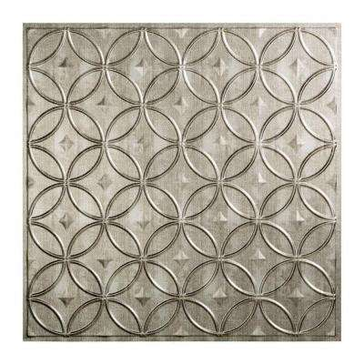 Rings - 2 ft. x 2 ft. Lay-in Ceiling Tile in Crosshatch Silver