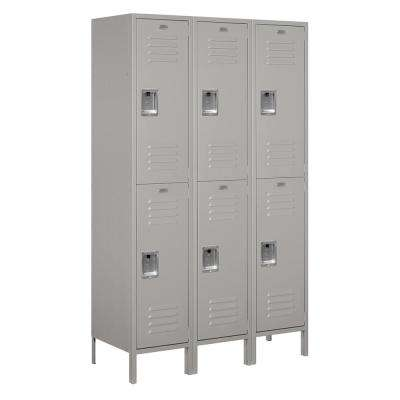 18-52000 Series 6 Compartments Double Tier 54 In. W x 78 In. H x 18 In. D Metal Locker Assembled in Gray