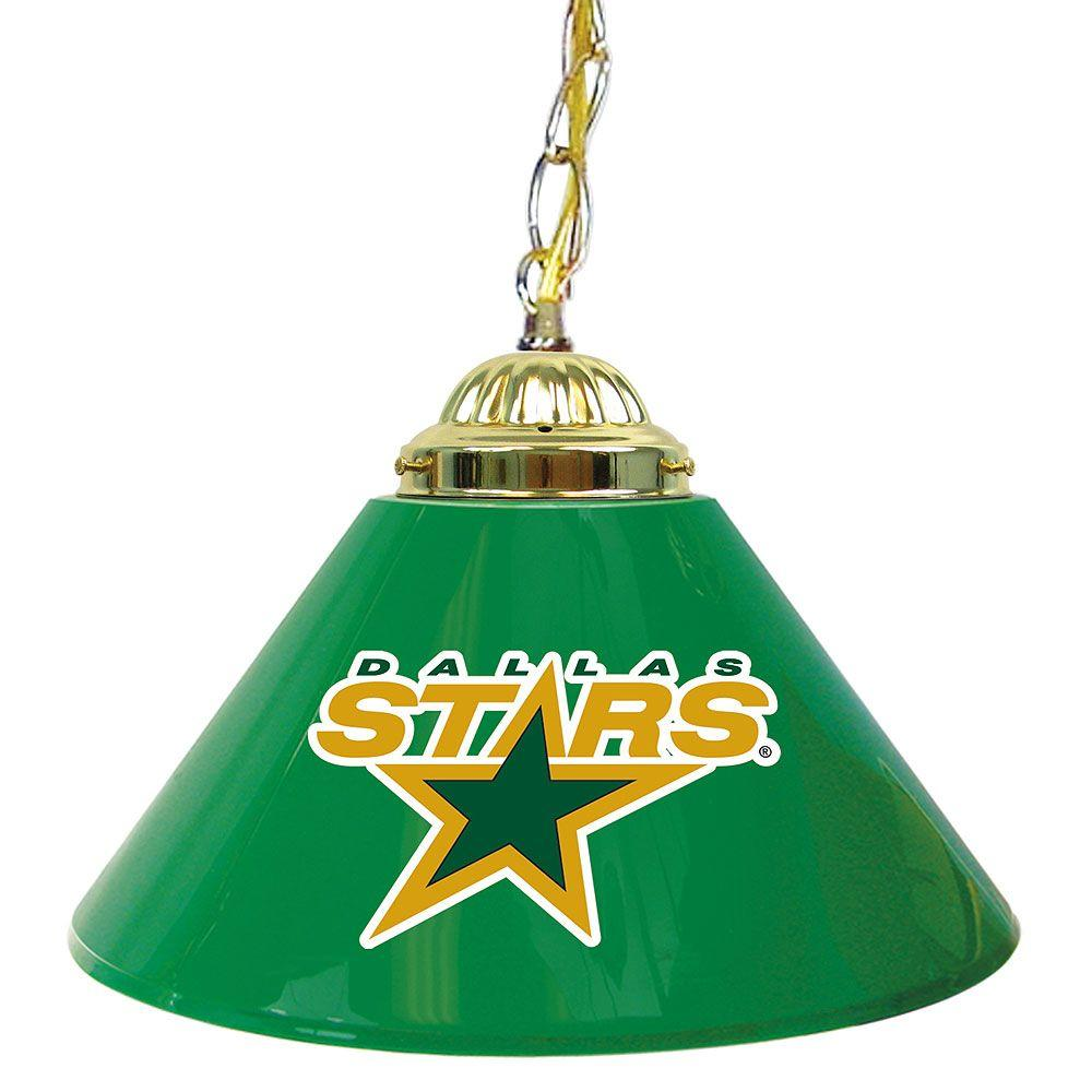 null NHL Dallas Stars 14 in. Single Shade Stainless Steel Hanging Lamp
