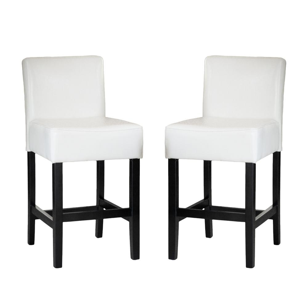 Ivory leather counter stool set of 2