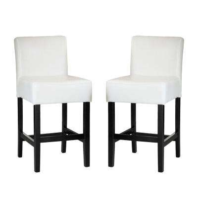 Lopez 26 in. Ivory Leather Counter Stool (Set of 2)