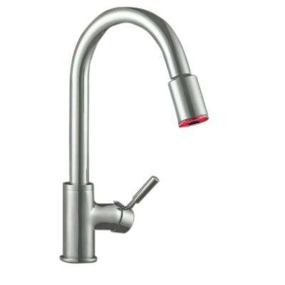 Premium Single Handle Pull Out Sprayer Kitchen Faucet In Satin Nickel