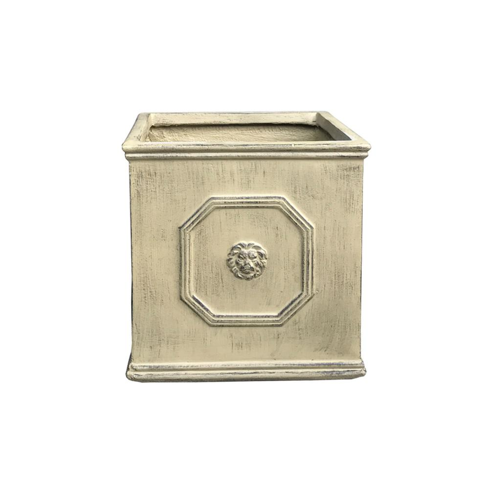 14.96 in. Brownstone Lightweight Concrete Lion Head Square Large Planter