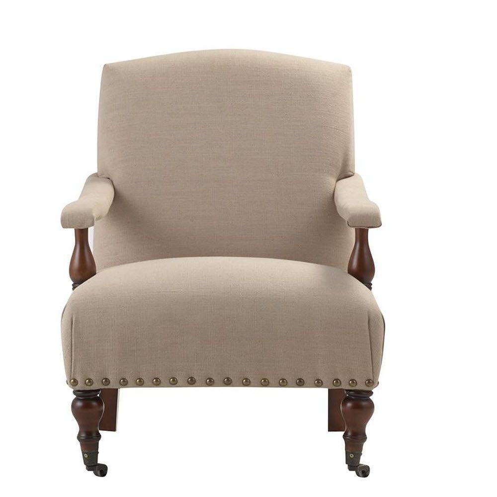 Home Decorators Collection Lucas Linen Arm Chair in Dark Beige Linen