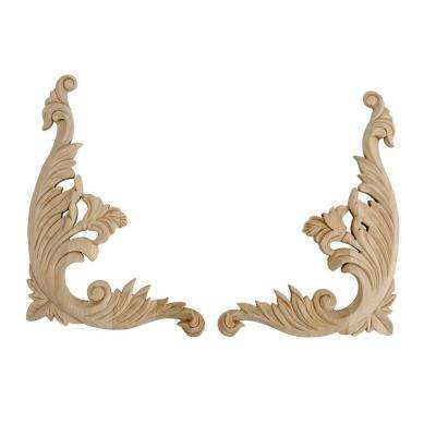 5 in. x 3-3/4 in. x 1/2 in. Unfinished Small Hand Carved North American Solid Alder Wood Onlay Acanthus Wood Scroll