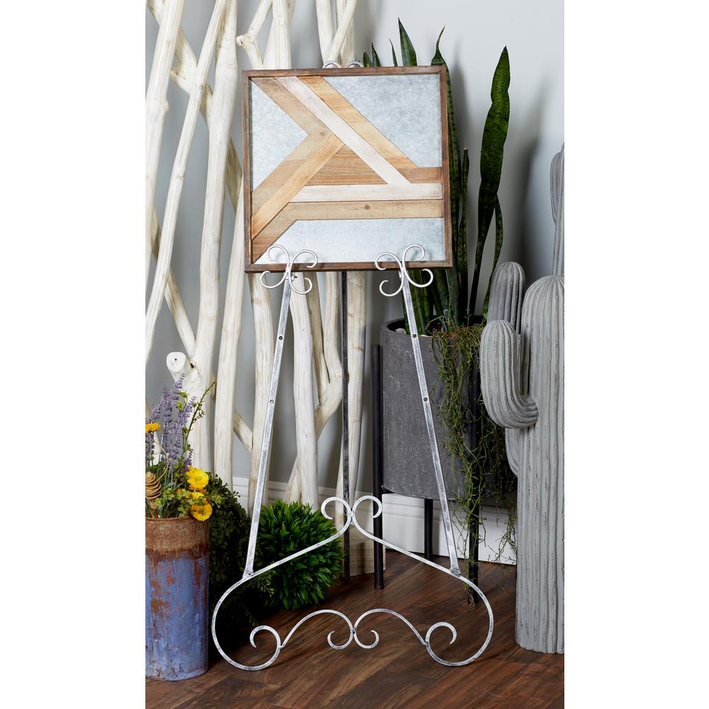 Distressed Gray Iron Baroque-Designed Floor Easel-27397 - The Home Depot