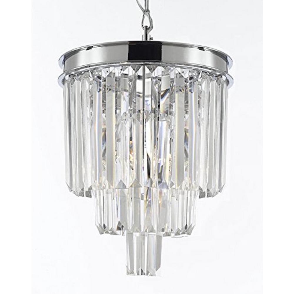 Palladium 3-Light Chrome Crystal Glass Fringe Modern Chandelier