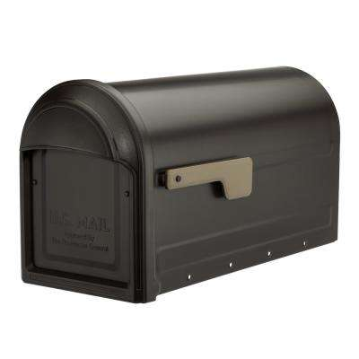 Barrington Rubbed Bronze Post Mount Mailbox with Champagne Gold Flag